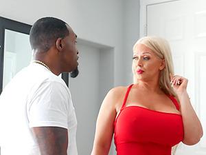 Blonde pornstar Alura Jenson with massive tits rides a BBC