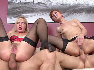 Home amateur group sex with good looking wives Amber and Simone