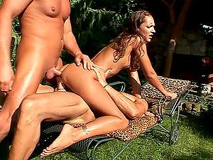 Amazing Sabrina Sweet gets threesomed in the backyard