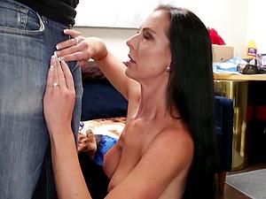 Seductive brunette wife gets naked and gives amazing handjob