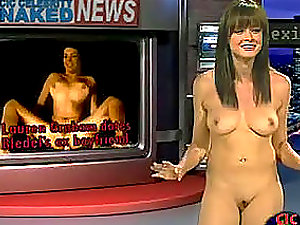 Three pretty black-haired celebrities reporting on naked nudes baring their perky titties