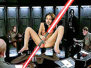 Sexy celebrities such as Anna, Alyson and Elisha open broad their cootchie while in the battle on outer space