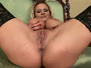Big tittied Sharon Pink stuffs her pierced cootchie