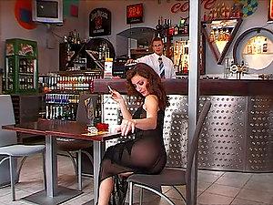 Judith Fox the hot auburn dame gets fucked in a bar
