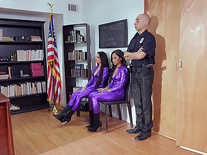 Threesome with two criminals - Honey Gold and wild Kissa Sins