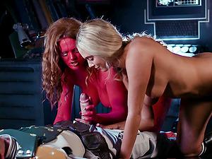Naughty threesome with movie stars Athena Palomino and Carly Rae