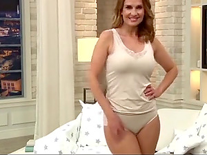Hot milf presents beautiful underwear at teleshopping