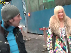 Platinum-blonde Whore Deepthroats Fucking Dick!