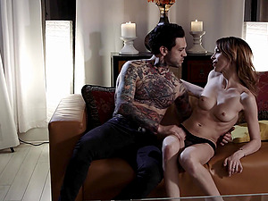Romantic fucking in the evening between a tattooed man and Aiden Ashley