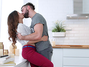 Smooth love making in the kitchen after foreplay - Mickey Moor