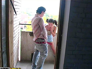 Fucking An 18-Year-Old Damsel's Donk in Public on the Balcony