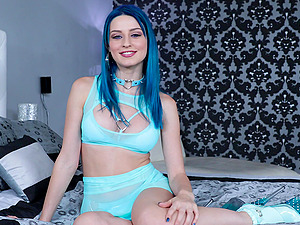 Blue haired Jewelz Blu loves to be face and throat fucked