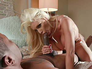 Interracial shag on the bed with cheating wife Brittany Andrews