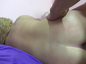 Amateur blonde Rebecca Richards pleasured with sex toys and a dick