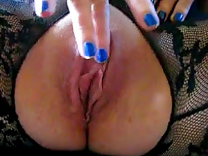Hot milf rubbing slowly her big clit and wet pussy