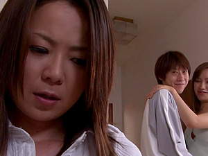 Japanese porn video with a clothed pornstar having sex and moaning