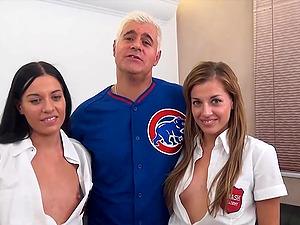 Amazing FFM threesome with adorable Eveline Dellai and Silvia Dellai