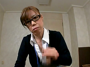 Japanese Mature in Glasses Providing A Good Fellatio in Office Point of view