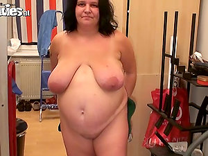 Renate Zug the fat woman thumbs and playthings her snatch