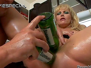 Fake penis and Beer Bottles are the Preview of the Gonzo Fucking for Blonde