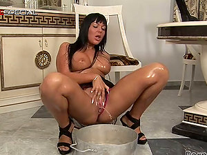 Gigantic Black Fuck stick Goes Inwards Angelica Heart's Cootchie in the Kitchen