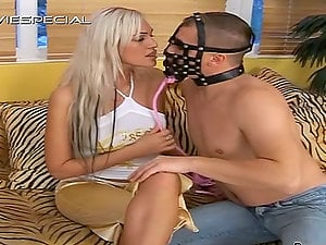 Stunning blonde doll gets fucked by a man in mask and urinates