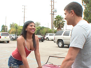 Quickie fucking between a lucky guy and adorable Latina Emi Reyes