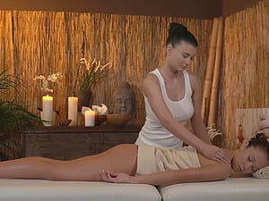 Erotic fucking on the massage table with busty Czech Lucy Li