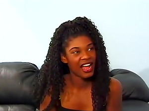 Ebony cutie Honey Love takes a long white dick in her pussy