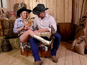 Fucking in the barn with sexy blonde Jenny in high heels. HD