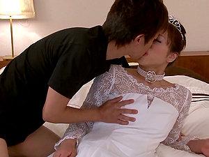 Stunning Japanese stunner in wedding sundress gets laid