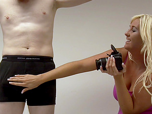 Video of a pale dude getting pleasured by stunning Donna Mills