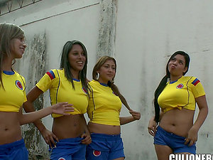 Latina Ladies Footy Team Bang Their Hot Coach