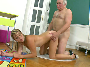 Bad student Kira gets penalized by her elderly professor
