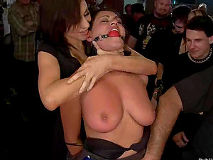 Hot public Bondage & discipline gang-bang for a big-chested dark-haired Charley Chase