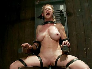 Buxom Blonde Chick Suffering Extreme Restrain bondage in Domination & submission Footage