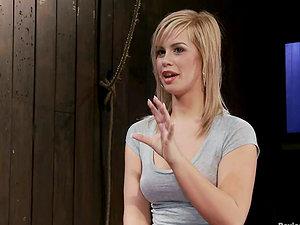 Bondage & discipline Torment Act for Bounded Blonde Tara Lynn Foxx