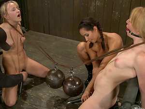 Wild Predominance and Restrain bondage Act for Blondes Ami Emerson and Isis Love