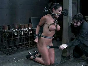 Breast restrain bondage and mouth gagging for Charley Chase