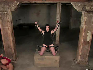 Horny chicks get clothespinned and toyed in Domination & submission activity