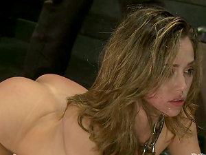Tied up Kristina Rose gets her booty fisted and vulva fucked