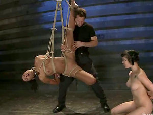 Skin Diamond and one more chick get tantalized and fucked in a basement
