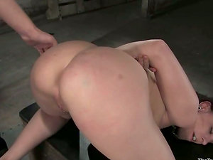 Bitchy dark-haired gets chained and ball-gagged with a thick dick