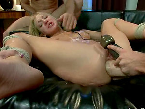 Adorable blonde sates two boys and gets her vag fisted