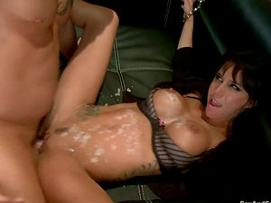 Gia Dimarco gets her mouth, labia and arse drilled hard in Bondage & discipline vid
