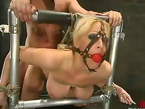 Tied and Bounded Big-titted Blonde Candy Manson Jaws and Cootchie Fucked