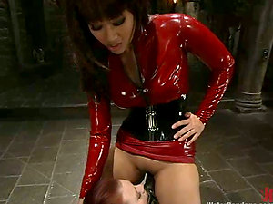 Kinky bitches in spandex get hosed and toyed in restrain bondage vid