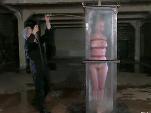Submerging Blonde Anette Schwarz in Water for Restrain bondage Torment
