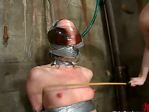 Claire Adams gets tormented in a cellar and likes it much