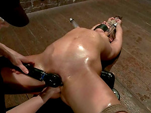 Eagerness gets restrain bondage and oiled up for a Domination & submission perversions